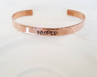 Yooper Hammered Aluminum or Copper Cuff Bracelet