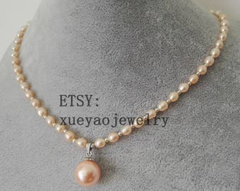 pearl necklace, 4-5 mm pink freshwater pearl necklace & 14mm shell pearl pendant