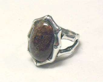 Vintage Sterling Silver NK Thailand Jasper Bamboo Statement Ring Size 6-3/4