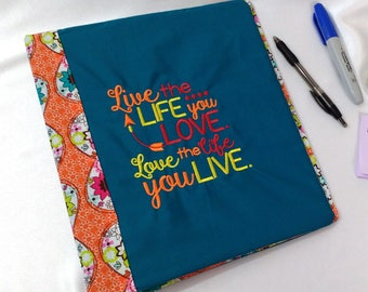 Fabric Covered 3 Ring Binder Journal Notebook School Folder Stationery Embroidered Cover Recipe Organizer Book Peace Hearts Orange Love Life