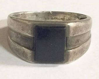 Vintage Sterling Silver with Black Onyx Mens Ring by Bermark Size 9 3/4