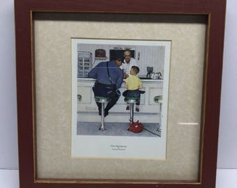 """The Runaway"""" Norman Rockwell Framed Print 9"""" x 9"""" Vintage"""