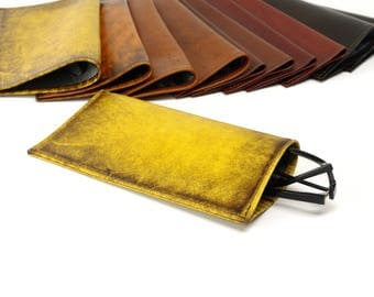 Silk-Lined Leather Glasses Case