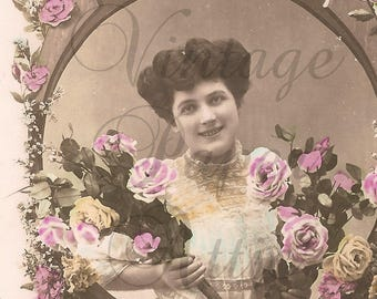Antique French Tinted Photo Postcard Pretty Woman with Flowers in Wood Frame RPPC from Vintage Paper Attic