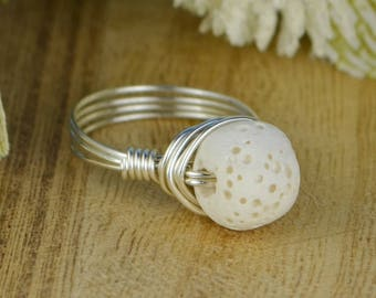 White Lava Stone Ring-Sterling Silver, Yellow or Rose Gold Filled Wire Wrapped with Round Rock Bead-Size 4 5 6 7 8 9 10 11 12 13 14