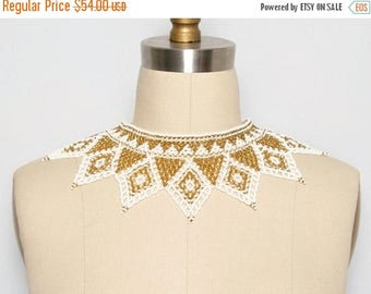 MOVING SALE Beaded Collar. Bib Necklace. Statement Necklace. Beaded Jewelry. Collar Necklace. Festival Jewelry. Gold and White. Choker. Holi