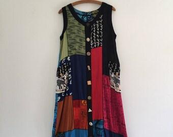 Vintage 90's Patchwork Sacred Threads Dress M