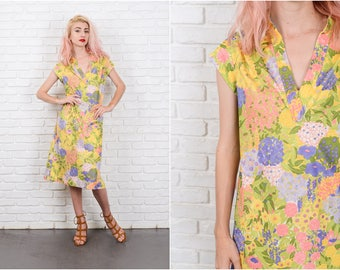 Vintage 70s Yellow Floral Print Dress Leaf Jungle Shift Large L 9743