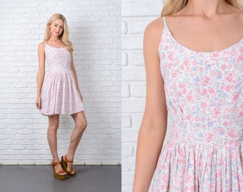 Vintage 80s 90s Pink Grunge Mini Dress Pastel Floral Leaf Print Medium M 9744 vintage dress 80s dress 90s dress pink dress grunge dress