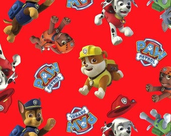 Paw Patrol Character Toss on Red from Davids Textiles - Marshall, Chase, Zuma, Rocky, and Rubble