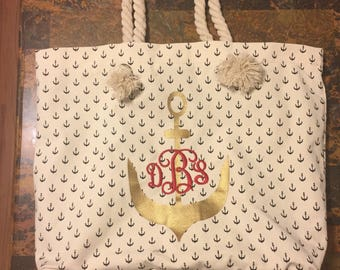 Large personalized Monogrammed Anchor Bag