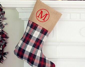 monogram stocking plaid plaid christmas stocking christmas stockings embroidered - Monogrammed Christmas Stockings