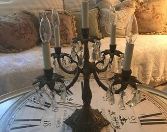 French Vintage Brass Candelabra - 5 Light - Chrystal Prisms