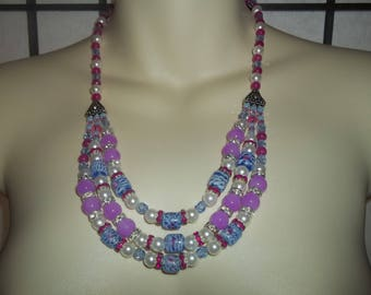 New Layered Statement Necklace With Pink Roses On Blue Lampwork Glass Beads, White Pearls and Blue Crystals