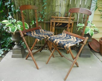 Antique Civil War era Camp Chairs Carpet Chairs