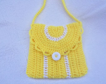 Girls Sunny Yellow Crochet Purse With Handle And Button Clousure