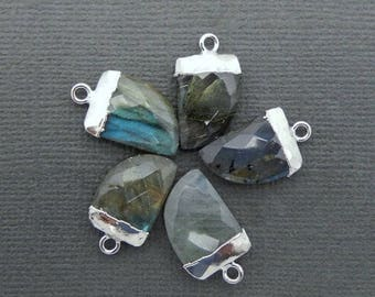 15% off Christmas in July Petite Labradorite Horn Pendant with Silver Electroplated Cap and Bail (S74B9-08)