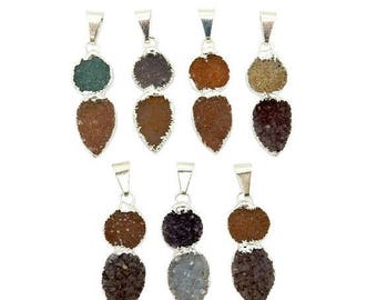 15% off Xmas in July Petite Round and Teardrop Double Druzy Pendant with Electroplated Silver Edge (S129B1-05)