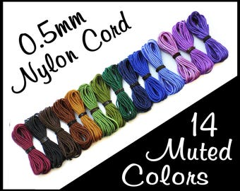 0.5mm Nylon Cord - 14 Muted Color Set - Colored Bead Cording - Thin Beading Thread - Bracelet String for Jewelry Making - Like C-Lon