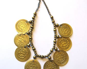 """Bohemian vintage necklace with """"medallions"""""""