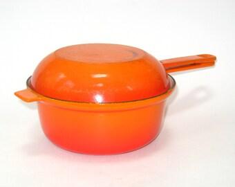 Le Creuset Cast Iron Flame Orange Enamel #18 Sauce Pan 1 QT Covered Pot w/ Skillet Lid -Dual Use Saucier
