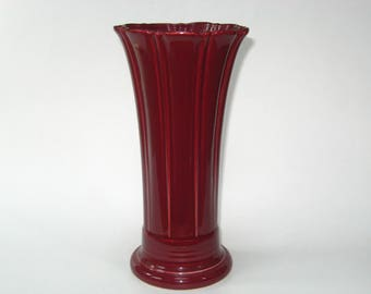 "Fiesta Ware Claret or Cinnabar Burgundy Flared 9.75"" Vase- Made in USA Homer Laughlin"