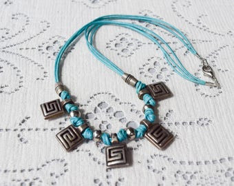 Mod Squares Necklace, Turquoise Blue Cord