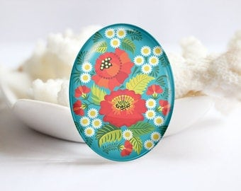 Oval Photo glass Cabochon Floral Image Glass Cover  (3783)
