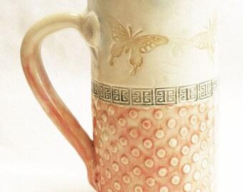 Butterfly ceramic stoneware coffee mug 20oz  stoneware 20D039