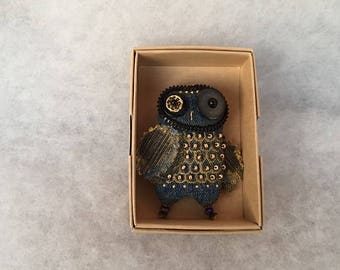 Denim owl brooch with gold glass beads Jeans brooch blue owl brooch Bird brooch Summer brooch Gift brooch