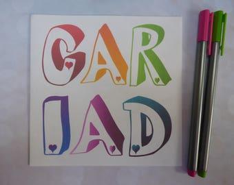 Cariad Welsh Card ~ Cerdyn 'Dydd Santes Dwynwen Hapus' ~ 'St Dwynwen's Day' Card ~ Valentine's Day Card ~ Welsh Rainbow Card ~ Engagement