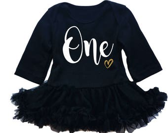 Baby Girls First Birthday Dress - Black Gold - 1st Birthday Dress - First Birthday Outfit
