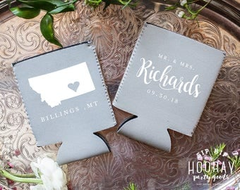 Montana Neoprene Can Coolers Wedding Cooler Any State Personalized Favors