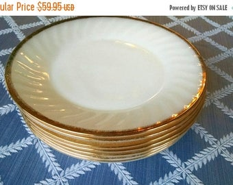 20% Summer SALE Collection of 7 Fire King Milk Glass Dinner Plates trimmed in 22kg
