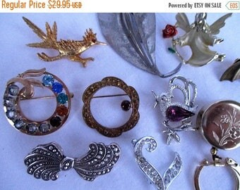SALE 20% OFF Vintage Collection of 10 Brooches...Costume Goldtone, marked Trifari, Ruby Red Acrylic stone~Instant Jewelry Collection