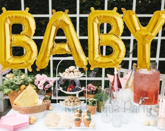 "Large ""BABY"" Letter Balloons 37"" Gold Foil Mylar / Set of 4 Balloons Helium Quality / Gender Reveal Baby Shower"