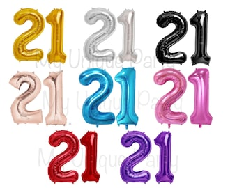 """21 Birthday Number Balloons 13.5"""" or 34"""" Mylar / Set of 2 Balloons / 13.5"""" Air Fill only / 34"""" Helium Quality / 21st Birthday"""