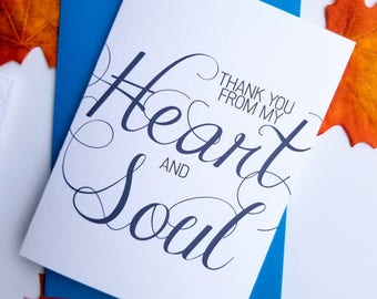 Thank You From My Heart and Soul Card with Matching Blue Envelope