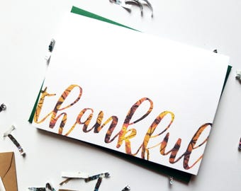 Thankful Fall Leaves Card with Matching Green Envelope