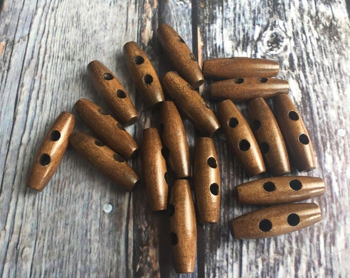 """Clasp Wood Toggle Button 2 holes Oval Dark Coffee 35 mm (1 3/8"""") x 11mm (3/8"""")"""