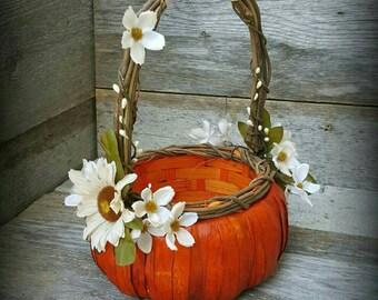 Autumn Wedding Pumpkin Flower Girl Basket in ivory