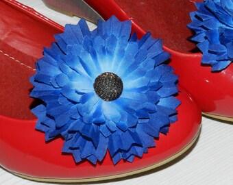 Fabric flower shoe clips, Cornflowers shoe clips, blue shoe clips, fabric shoe clips, party shoes accessory, fabric cornflower, Shoe clips