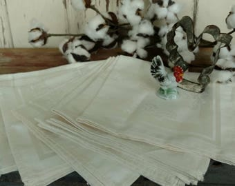Vintage Soft White Damask Cloth Napkins - Retro Set of 8 Floral Table Linens + Party Linens, Shabby French Linen, Set The Table, Ivory Cloth