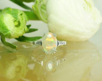 Oval Opal Ring, Genuine Opal Ring, Large Opal Ring, October Birthstone, Unique Opal Ring, Opal Ring, Opal Statement Ring, Opal silver Ring