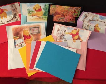 Winnie the Pooh Hand Made Envelopes and Note Cards - Set of 6