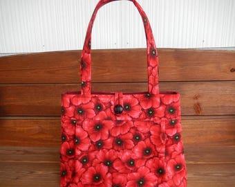 Handbag Purse Fabric Bag Summer Fashion Accessories Women Handbag Large Shoulder Bag in Black with Red Poppies Flower print