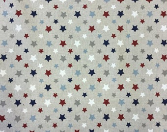 Stars multicoloured print on linen effect cotton by the metre