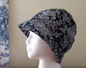 Chemo Hat Cloche Style Cotton Duck Fabric in Black and White Damask Print, Satin Lined with a Fabric Bow, Cancer Patient Gift, Ready to Ship