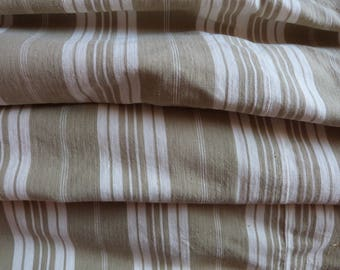 Vintage linen mattress ticking French ticking stripe fabric, BIG kaki striped ticking mattress toile, sewing supply textile French fabric