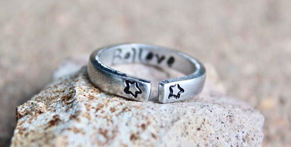 Believe Mantra Ring, Adjustable Ring, Hand-Stamped Star Ring, Star Stacking Ring, Inspiration Inside, Believe Mantra Ring, Believe Ring Gift